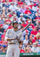 30 August 2015: Miami Marlins infielder Dee Gordon takes a time out at the plate game during action against the Washington Nationals at Nationals Park in Washington, DC. The Nationals defeated the Marlins 7-4 in the third game of their 3-game weekend series. Mandatory Credit: Ed Wolfstein Photo *** RAW (NEF) Image File Available ***