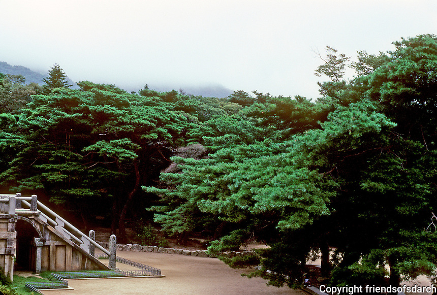 So. Korea: Kyong-Ju--Bulgug-sa Temple. Lush grounds. Photo '81.