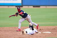 Palm Beach Cardinals second baseman Franklin Soto (5) stretches for a pickoff attempt throw as Nasim Nunez (2) dives back to the bag during a game against the Jupiter Hammerheads on May 12, 2021 at Roger Dean Chevrolet Stadium in Jupiter, Florida.  (Mike Janes/Four Seam Images)