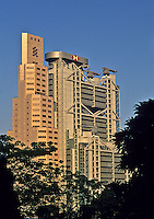 China. Hong Kong. Hong Kong & Shanghai Bank Headquarters building and Standard Chartered Bank.