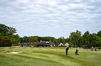 Golfers on the final hole during their round. Covid-19 Golf phased exit at Hever Castle Golf club, Edenbridge, England on 17 May 2020. Photo by Liam McAvoy.<br /> <br /> Hever Castle Golf club opened its golf course on May 13, 2020 in Edenbridge, Kent.<br /> Golf courses reopen in England under government guidelines after Prime Minister Boris Johnson announced the general contours of a phased exit from the current lockdown.