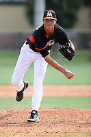 Miami Marlins pitcher Jordan Holloway #46 during an Instructional League intramural game on September 30, 2014 at Roger Dean Complex in Jupiter, Florida.  (Stacy Jo Grant/Four Seam Images)