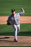 Mesa Solar Sox pitcher Greg Mahle (37) delivers a pitch during an Arizona Fall League game against the Glendale Desert Dogs on October 13, 2015 at Camelback Ranch in Glendale, Arizona.  Glendale defeated Mesa 8-7.  (Mike Janes/Four Seam Images)
