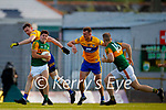 Mike Breen, Kerry, in action against Darren O Neill, Clare, during the Munster Football Championship game between Kerry and Clare at Fitzgerald Stadium, Killarney on Saturday.