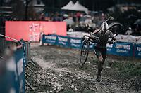 running man Mathieu van der Poel (NED/Corendon-Circus) <br /> <br /> Elite Men's race<br /> GP Sven Nys / Belgium 2018