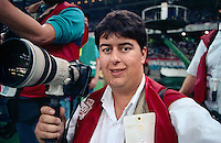 NEW ORLEANS, LA - Photographer Brad Mangin during Super Bowl XXIV between the Denver Broncos and San Francisco 49ers at the Louisiana Superdome in New Orleans, Louisiana on January 28, 1990. Photo by Brad Mangin.