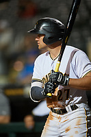Bradenton Marauders center fielder Casey Hughston (27) on deck during a game against the Tampa Tarpons on April 25, 2018 at LECOM Park in Bradenton, Florida.  Tampa defeated Bradenton 7-3.  (Mike Janes/Four Seam Images)