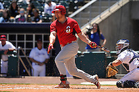 Springfield Cardinals Luke Voit (18) swings during the game against the Northwest Arkansas Naturals at Arvest Ballpark on May 4, 2016 in Springdale, Arkansas.  Springfield won 10-6.  (Dennis Hubbard/Four Seam Images)