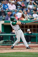 Fort Wayne TinCaps second baseman Nate Easley (17) follows through on a swing during a game against the Wisconsin Timber Rattlers on May 10, 2017 at Parkview Field in Fort Wayne, Indiana.  Fort Wayne defeated Wisconsin 3-2.  (Mike Janes/Four Seam Images)