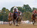 Dream Tree (no. 8) wins the Prioress Stakes (Grade 2), Sep. 2, 2018 at the Saratoga Race Course, Saratoga Springs, NY.  Ridden by Mike Smith, and trained by Bob Baffert, Dream Tree finished 4 1/4 lengths in front of Mia Mischief (No. 4).  (Bruce Dudek/Eclipse Sportswire)