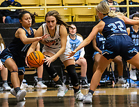 Nadia Akbar (34) of Bentonville drives to the basket as Galatia Andrew (11)  and Ella Nelson (22) of Spring Har-ber defends at Tiger Arena, Bentonville, AR January 5, 2021 / Special to NWA Democrat-Gazette/ David Beach