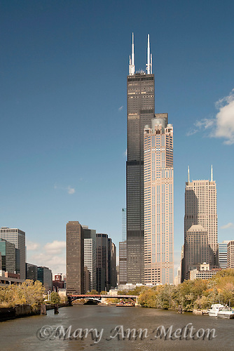 Looking up to the WIllis Tower from the Chicago River