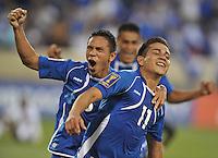 Rodolfo Zelaya Garcia (11) of El Salvador celebrates his score with William Romero.  Trinidad & Tobago tied El Salvador 1-1 in the first round of the Concacaf Gold Cup, at Red Bull Arena, Monday July 8 , 2013.