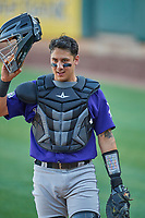 Dom Nunez (5) of the Albuquerque Isotopes during the game against the Salt Lake Bees at Smith's Ballpark on April 27, 2019 in Salt Lake City, Utah. The Isotopes defeated the Bees 10-7. This was a makeup game from April 26, 2019 that was cancelled due to rain. (Stephen Smith/Four Seam Images)