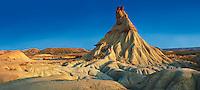 Castildeterra rock formation in the Bardena Blanca area of the Bardenas Riales Natural Park, Navarre, Spain