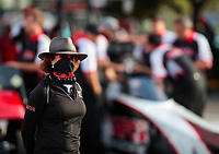Sep 21, 2018; Madison, IL, USA; Kay Torrence, wife of NHRA top fuel driver Billy Torrence (not pictured) during qualifying for the Midwest Nationals at Gateway Motorsports Park. Mandatory Credit: Mark J. Rebilas-USA TODAY Sports