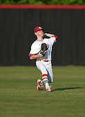 Lake Mary Rams outfielder Bryce Vorhees (18) during practice before a game against the Lake Brantley Patriots on April 2, 2015 at Allen Tuttle Field in Lake Mary, Florida.  Lake Brantley defeated Lake Mary 10-5.  (Mike Janes Photography)