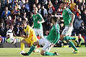 Romania's Alexandru Chipciuin trays to break though Northern Ireland defence  with Conor McLaughlin trying to block with foot during the UEFA EURO 2016 qualifying Group F soccer match between Northern Ireland and Romania at Windsor Park in Belfast, Northern Ireland, 13 June 2015.  EPA/PauL McErlane