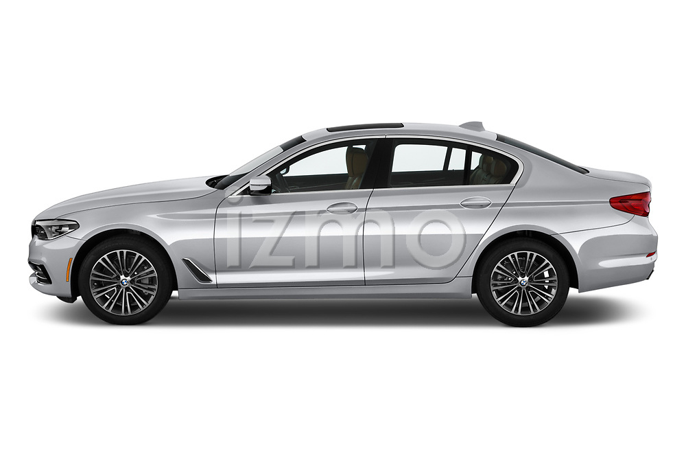 Car Driver side profile view of a 2019 BMW 5-Series 530I-Sport-Line 4 Door Sedan Side View
