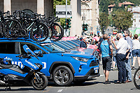 shimano neutral service crew at the start in Bergamo<br /> <br /> 114th Il Lombardia 2020 (1.UWT)<br /> 1 day race from Bergamo to Como (ITA/231km) <br /> <br /> ©kramon