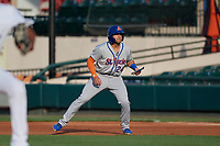 St. Lucie Mets Blake Tiberi (24) leads off first base during a Florida State League game against the Lakeland Flying Tigers on April 24, 2019 at Publix Field at Joker Marchant Stadium in Lakeland, Florida.  Lakeland defeated St. Lucie 10-4.  (Mike Janes/Four Seam Images)