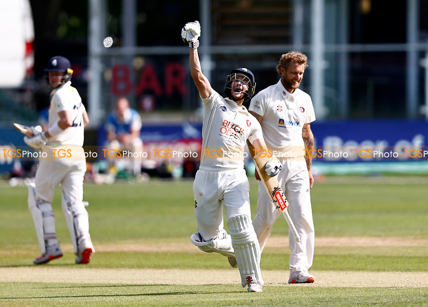 Ollie Robertson celebrates his hundred for Kent during Kent CCC vs Northamptonshire CCC, LV Insurance County Championship Group 3 Cricket at The Spitfire Ground on 5th June 2021