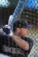 Colorado Rockies catcher Chris Iannetta #20 before a game against the Los Angeles Dodgers at Dodger Stadium on July 26, 2011 in Los Angeles,California. Los Angeles defeated Colorado 3-2.(Larry Goren/Four Seam Images)