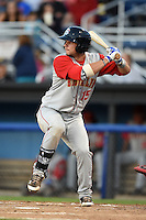 Brooklyn Cyclones second baseman Tyler Moore (15) at bat during a game against the Batavia Muckdogs on August 9, 2014 at Dwyer Stadium in Batavia, New York.  Batavia defeated Brooklyn 4-2.  (Mike Janes/Four Seam Images)