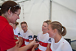 Rowing, 2011 FISA World Rowing Championships, Lake Bled, Bled, Slovenia, Europe, Rowing Canada Aviron, Canadian Women's eight meet with Jackie Skender, Media Director, after winning Silver Medal, September 2, 2011