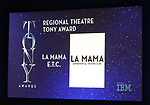Reginal Theatre Tony Award goes to LA MAMA E.T.C. mentioned during the 2018 Tony Awards Nominations Announcement at The New York Public Library for the Performing Arts on May 1, 2018 in New York City.