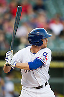Round Rock Express outfielder Ryan Strausborger (6) at bat during the Pacific Coast League baseball game against the Fresno Grizzlies on June 22, 2014 at the Dell Diamond in Round Rock, Texas. The Express defeated the Grizzlies 2-1. (Andrew Woolley/Four Seam Images)