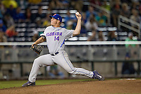 Florida Gators pitcher Bobby Ponder (14) delivers a pitch to the plate during the NCAA College baseball World Series against the Virginia Cavaliers on June 15, 2015 at TD Ameritrade Park in Omaha, Nebraska. Virginia defeated Florida 1-0. (Andrew Woolley/Four Seam Images)