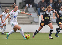 Hannah Eurlings (9) of OH Leuven and Chloe Van Mingeroet (17) of Eendracht Aalst pictured during a female soccer game between Oud Heverlee Leuven and Eendracht Aalst on the second matchday of the 2021 - 2022 season of Belgian Womens Super League , sunday 29 nd of August 2021  in Heverlee , Belgium . PHOTO SPORTPIX.BE   JILL DELSAUX