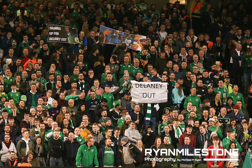 European Championship 2020<br /> Qualifying Round <br /> Rep of Ireland v Georgia<br /> Tuesday 26th March 2019,<br /> Aviva Stadium, Dublin.<br /> Republic of Ireland fans hold up a banner in protest of John Delaney.<br /> Mandatory Credit: Michael P Ryan
