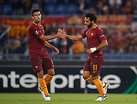 Roma's Mohamed Salah, right, is congratulated by his teammate Diego Perotti after scoring during the Europa League Group E soccer match between Roma and Astra Giurgiu at Rome's Olympic stadium, 29 September 2016. Roma won 4-0.<br /> UPDATE IMAGES PRESS/Isabella Bonotto