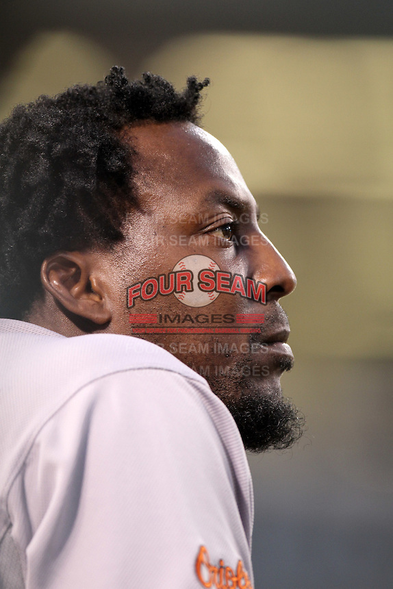 Baltimore Orioles designated hitter Vladimir Guerrero #27 during a game against the Los Angeles Angels at Angel Stadium on August 20, 2011 in Anaheim,California. Los Angeles defeated Baltimore 9-8.(Larry Goren/Four Seam Images)