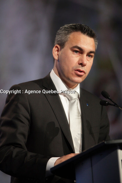 Montreal (QC) CANADA - April 2012 File Photo - Palle Christiansen, Minister of Finance and Nordic Co-operation, ... Greenland speak at IPY (International Polar Year) 2012 conference held at Montreal Convention Centre - Pall Christiansen