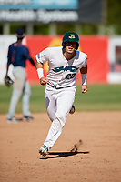 Beloit Snappers catcher Collin Theroux (23) runs the bases during a game against the Bowling Green Hot Rods on May 7, 2017 at Pohlman Field in Beloit, Wisconsin.  Bowling Green defeated Beloit 6-2.  (Mike Janes/Four Seam Images)