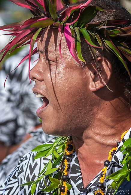 A portrait of a local Niuean singing a traditional song at a cultural festivity on the island of Niue in the South Pacific.