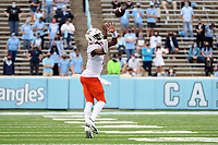 CHAPEL HILL, NC - OCTOBER 10: Quarterback Hendon Hooker #2 of Virginia Tech catches a pass on a 20-yard reverse play during a game between Virginia Tech and North Carolina at Kenan Memorial Stadium on October 10, 2020 in Chapel Hill, North Carolina.