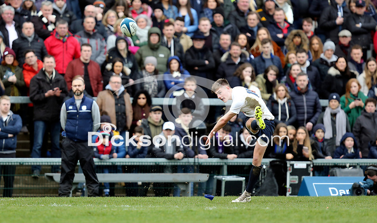 Monday 18th March 2019 | 2019 Schools Cup Final<br /> <br /> Ethan McIlroy on target with this conversion during the 2019 Ulster Schools Cup Final between MCB and CCB at Ravenhill Park, Belfast, Northern Ireland. Photo by John Dickson / DICKSONDIGITAL