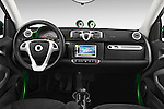 Stock photo of straight dashboard view of a 2013 Smart FOR TWO Electric Drive 2 Door Convertible Dashboard