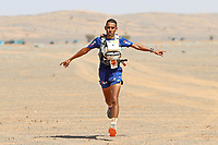 8th October 2021; Boulchrhal to Sud Jebel Irhfelt N'Tissalt ;  Marathon des Sables, stage 5 and final stage of  a six-day, 251 km ultramarathon, which is approximately the distance of six regular marathons. The longest single stage is 91 km long. This multiday race is held every year in southern Morocco, in the Sahara Desert. Rachid El Morabity runs to the finish line to win the 35eme Marathon Des Sables