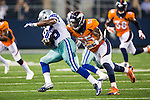 Dallas Cowboys defensive back Tyler Patmon (35) and Denver Broncos outside linebacker Lerentee McCray (55) in action during the pre-season game between the Denver Broncos and the Dallas Cowboys at the AT & T stadium in Arlington, Texas. Denver leads Dallas 10 to 3 at halftime.