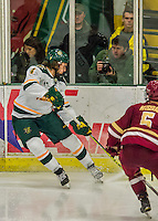 20 February 2016: University of Vermont Catamount Forward Liam Coughlin, a Freshman from South Boston, MA, in third period action against the Boston College Eagles at Gutterson Fieldhouse in Burlington, Vermont. The Eagles defeated the Catamounts 4-1 in the second game of their weekend series. Mandatory Credit: Ed Wolfstein Photo *** RAW (NEF) Image File Available ***