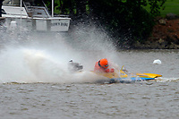 Frame 16: 300-P comes together with 911-Q, turns away and then is ejected from the boat.   (Outboard Hydroplanes)