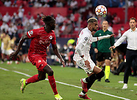 14th September 2021; Sevilla, Spain: UEFA Champions League football,  Sevilla FC versus RB Salzburg;  En-Nesyri of Sevilla heads the ball along the line