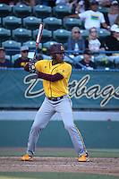 Tyler Williams (25) of the Arizona State Sun Devils bats against the Long Beach State Dirtbags at Blair Field on February 27, 2016 in Long Beach, California. Long Beach State defeated Arizona State, 5-2. (Larry Goren/Four Seam Images)