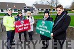 """Staff of Coláiste Gleann Li on strike for """"Equal Pay for Equal Work"""" and """"In Pay Discrimation Now"""".<br /> Front l to r: Muirna Egan and Liam McGill<br /> Back l to r: Anthony Dineen, Edwina Hayes and Ciara Stack."""