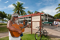 hippie playing guitar, Lahaina, Maui, Hawaii, USA